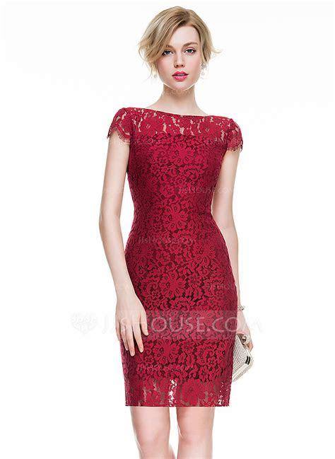 Sheath/Column Scoop Neck Knee Length Lace Cocktail Dress
