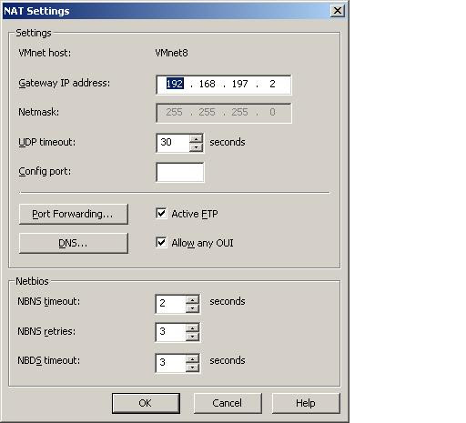 The VMware Virtual Network Editor NAT settings dialog