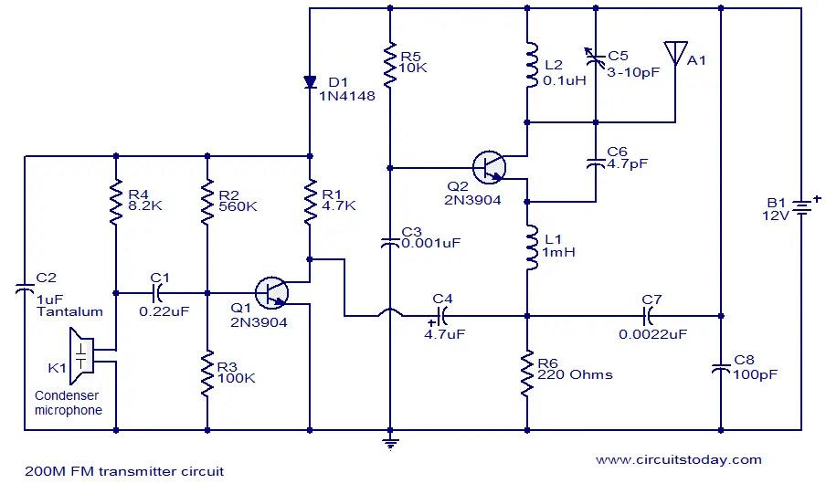200M FM transmitter circuit