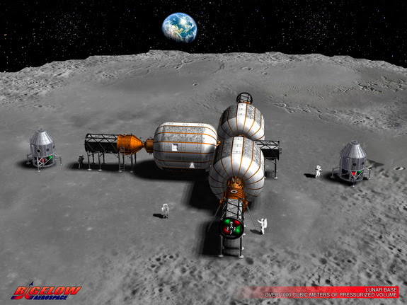 This early concept art shows a lunar base as envisioned by Bigelow Aerospace, which builds expandable space habitats.