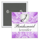 Elegant Monogram Bridal Party Purple Satin Design 2 Inch Square Button