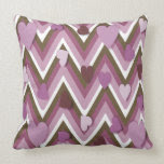 Mauve Hearts And Cheverons Pillow