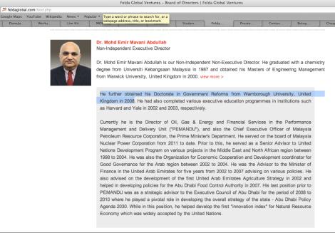 Emir Mavani's brief resume in FGVH website
