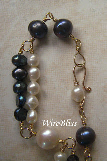 wire wrapped pearl bracelet