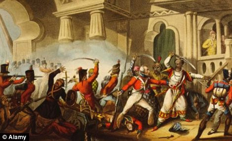 Storming of Seringapatam under General Baird and death of Tipu Sultan, May 4, 1799, in the Mysore War.Tipu Sultan was shot and killed in the onslaught