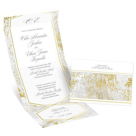 Gold Marble Seal and Send Invitation   Ann's Bridal Bargains