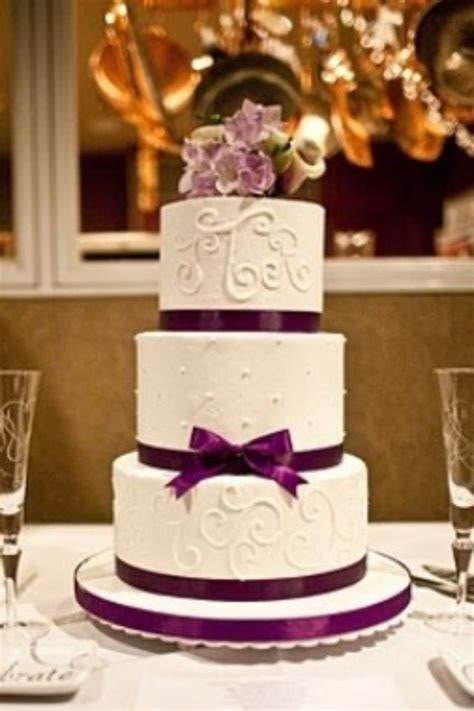 Purple wedding cake elegant Keywords: #weddings #