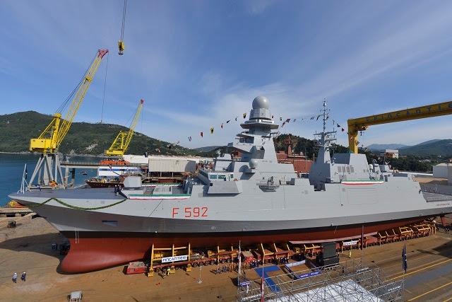 """El 27 de febrero de 2014 en La Spezia astillero, la tercera fragata italiana, lleva el nombre del héroe italiano de la Segunda Guerra Mundial """"Carlo Margottini"""", fue entregado por OCCAR para la marina italiana."""