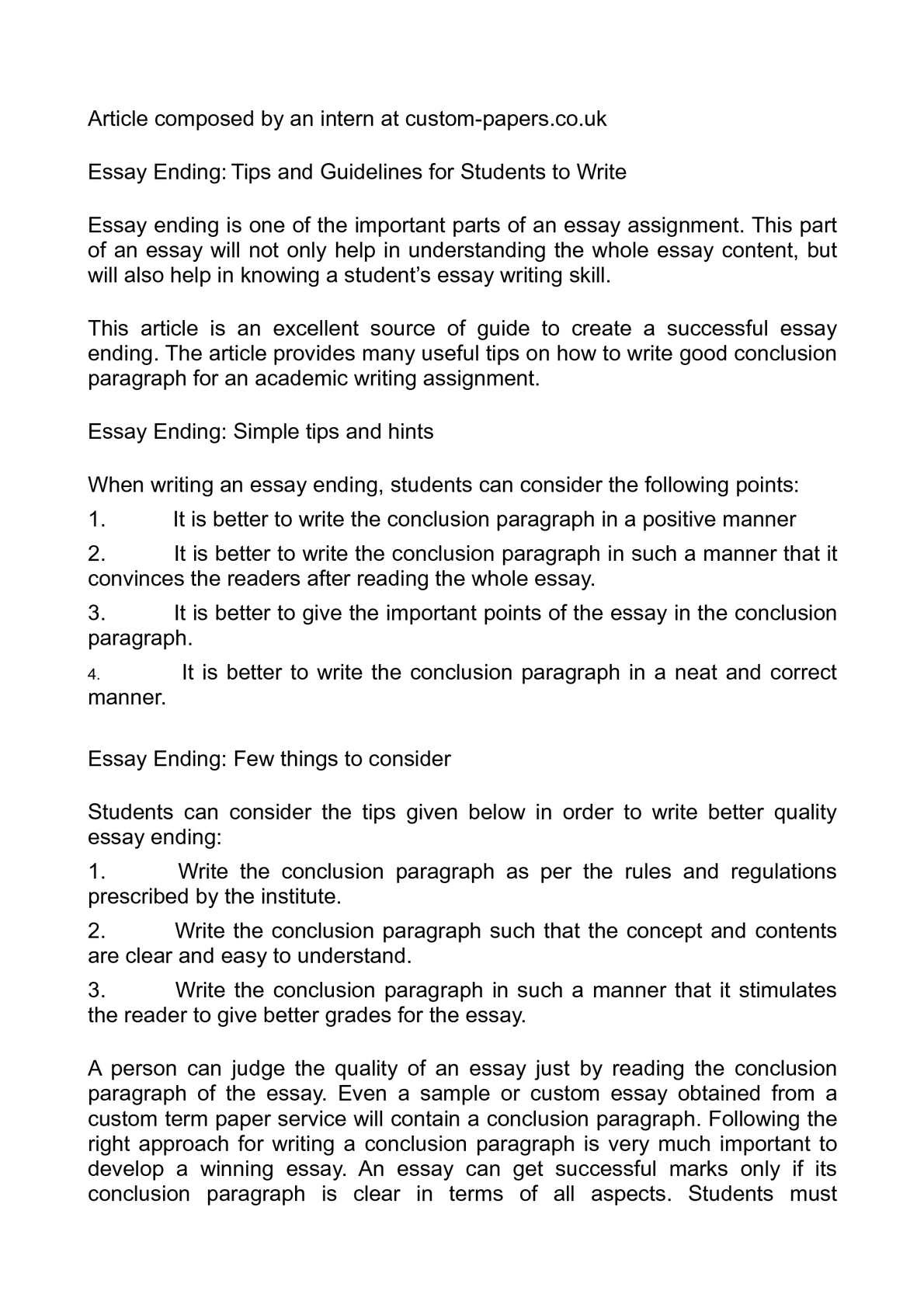 how to write conclusion for essay a book