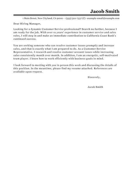 Cover Letter For Client Service Representative Sample Cover Letter