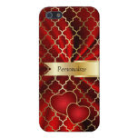 Red Satin & Gold Quatrefoil Geometric | DIY Name Case For iPhone 5/5S