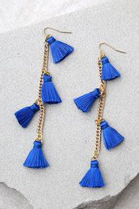 Vanessa Mooney Dynasty Blue Tassel Earrings