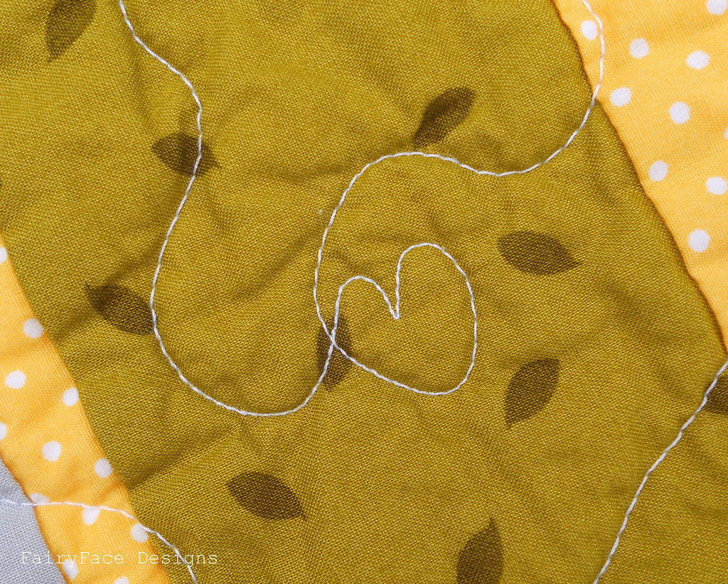 Little Apples Stained quilt heart quilting