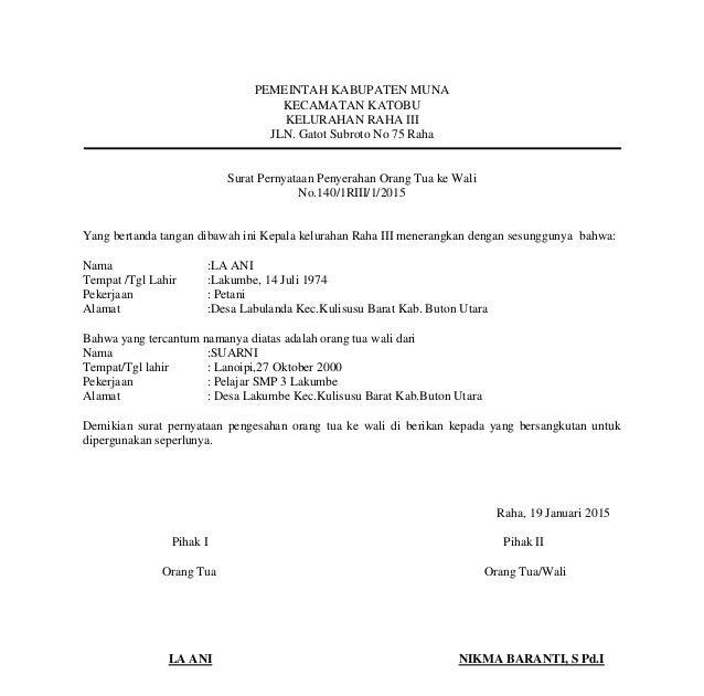 Contoh Surat Pernyataan Hak Asuh Anak Ciupa Biksemad