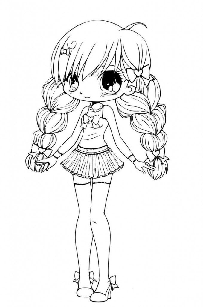 Cute Anime Coloring Pages Easy Coloring And Drawing