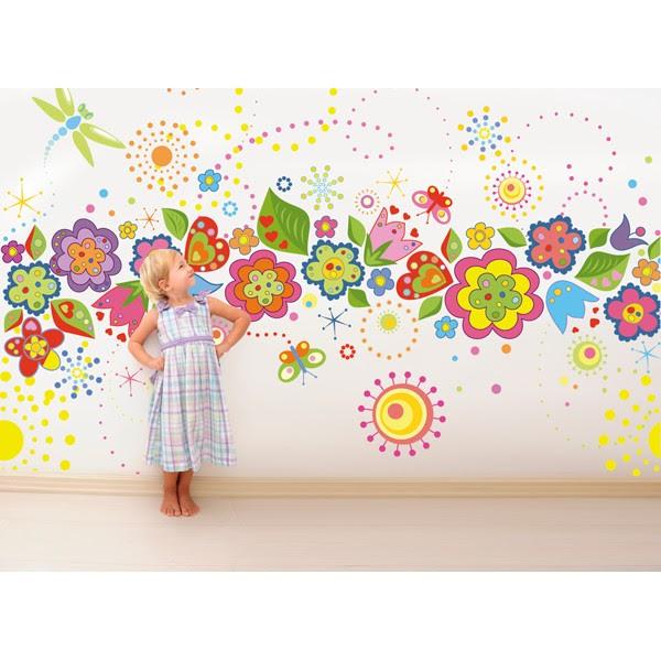 Vinilo Infantil Flores Y Mariposas De Colores