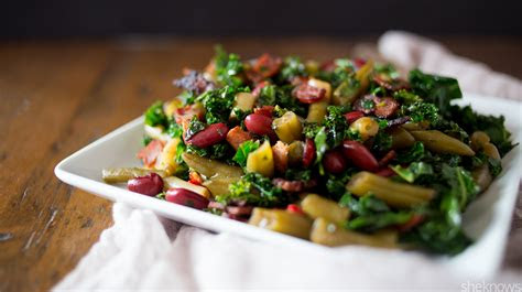 bean salad  revamped  crispy bacon  sauteed kale