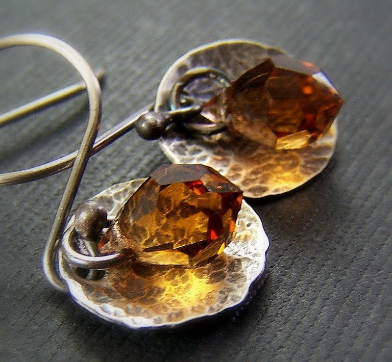 Citrine Crystal Earrings Hammered Sterling Silver Gold Crystal November Birthstone - Hot Toddy