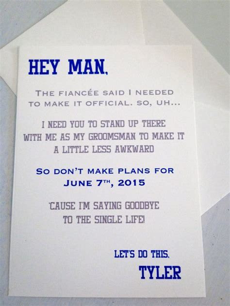 Groomsman Card Invite   Will you be my Groomsman? Funny