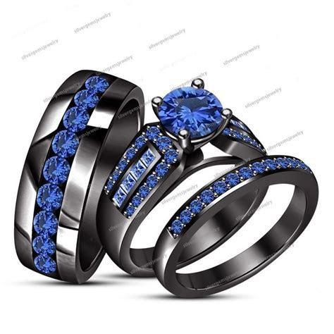 Her & His Blue Sapphire Wedding Bridal Trio Ring Set 14Kt