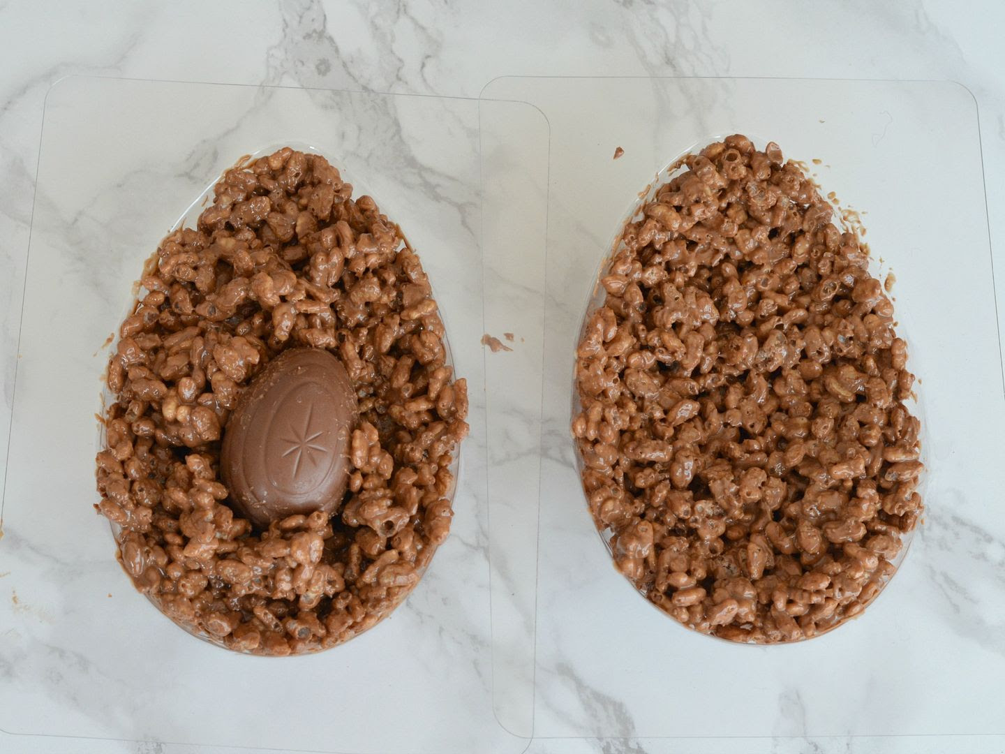 Chocolate Crispy Easter Egg with a Hidden Creme Egg