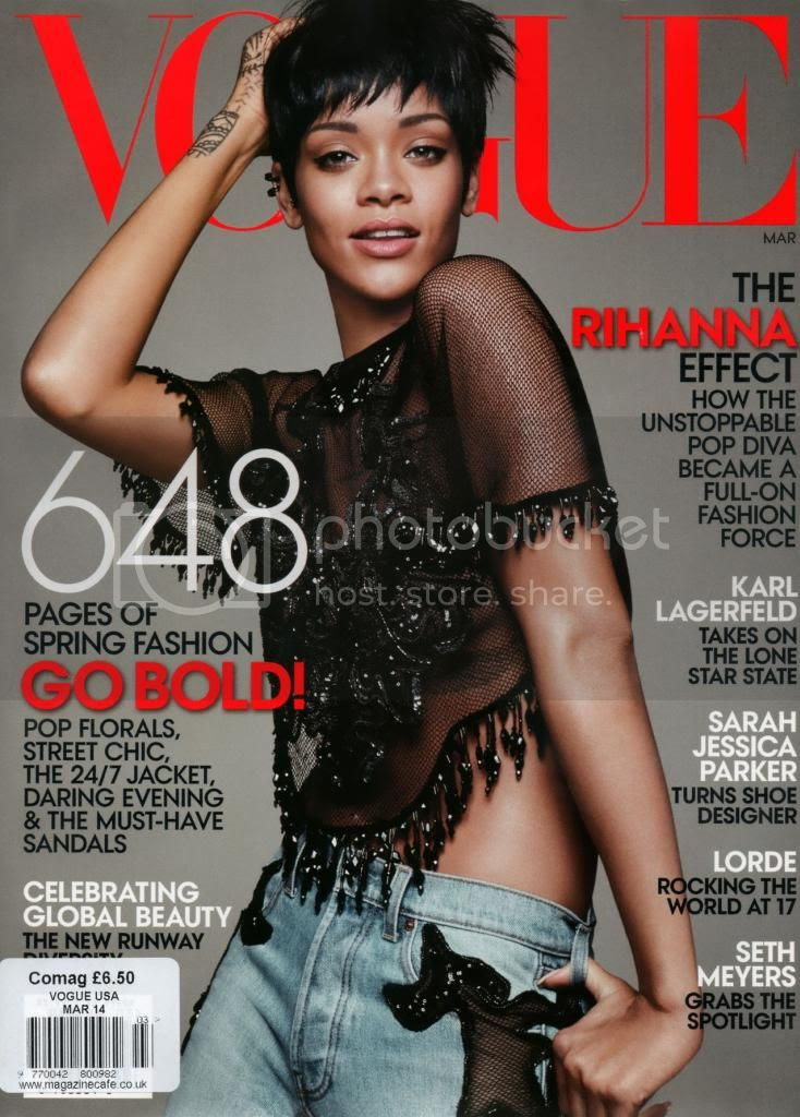 Rihanna's cover shoot for US Vogue (March 2014)...