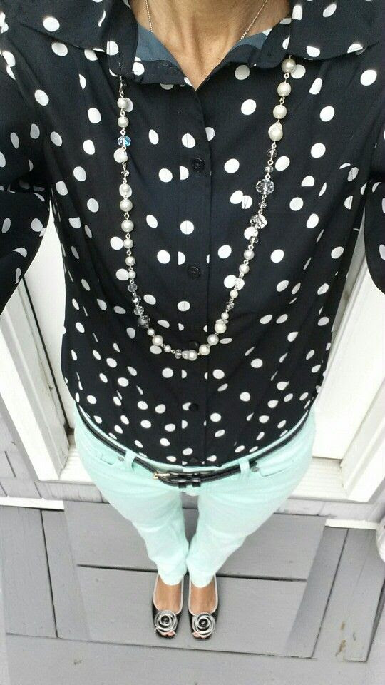 Polka-dots mint green skinny jeans #preppie Beauty & Style with Jill Fashion for Women Over 40 #fashion4over40 #modest #classicstyle #preppie #stylewithjill BEAUTY & FASHION TIPS
