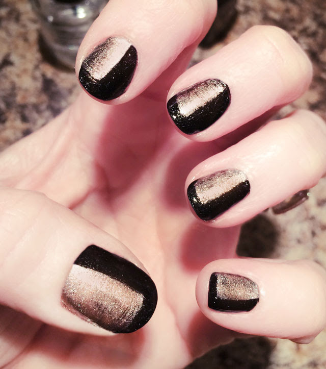black and rose gold nails-nail art