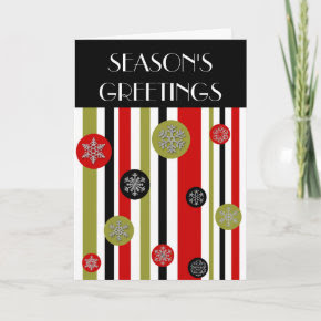 vintage retro stripes, SEASON'S GREETINGS Card