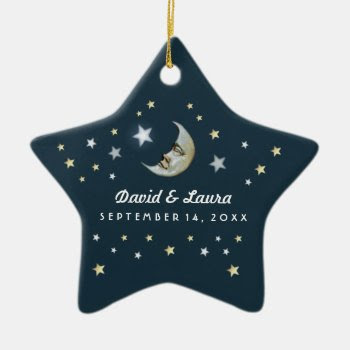 Teal Gold & White Moon & Stars Wedding Custom Double-sided Star Ceramic Christmas Ornament by juliea2010 at Zazzle