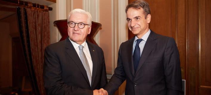 Ο Γερμανός πρόεδρος με τον Κυριάκο Μητσοτάκη -Φωτογραφία: Intimenews/Γρ. Τύπου ΝΔ/ΠΑΠΑΜΗΤΣΟΣ ΔΗΜΗΤΡΗΣ