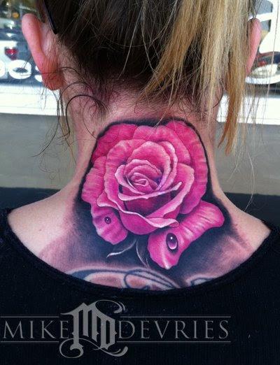 Amazing Pink Rose Flower Back Neck Tattoo