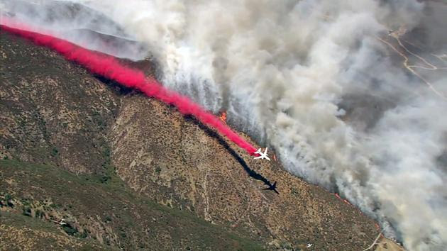 "<div class=""meta image-caption""><div class=""origin-logo origin-image kabc""><span>KABC</span></div><span class=""caption-text"">A plane drops fire retardant while battling the Blue Cut Fire in the San Bernardino National Forest on Tuesday, Aug. 16, 2016.</span></div>"