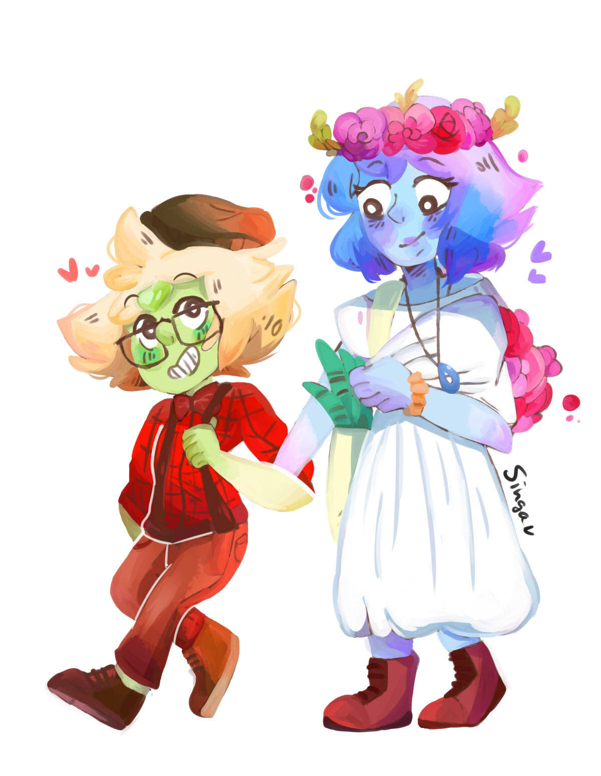 Okay i finally finished my flowershop AU! Imagine peridot and lapis being two hipsters managing their own flowershop: Lapis is the instagram flower girl who picks out the flowers and post cute...