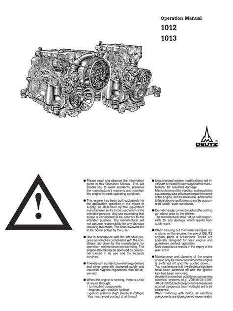 Deutz BF6M 1013 Operation Manual | Engines