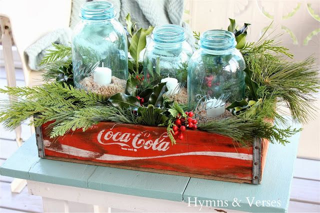 Ball Mason Jars in Coke Crate Christmas Candles by Hymns and Verses