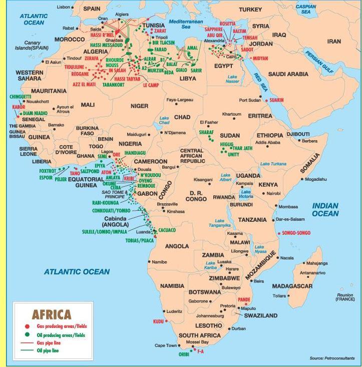 Recursos da África em hidrocarbonetos.