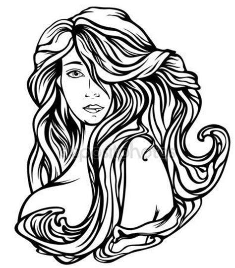 art nouveau style woman  gourgeous hair stock vector