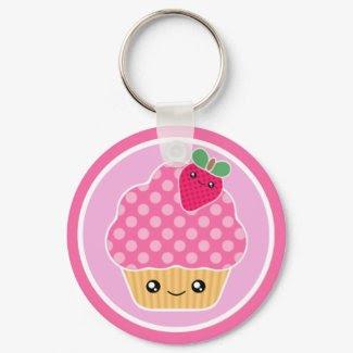 Kawaii Cupcake Strawberry Keychain keychain