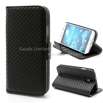 Carbon Fiber Leather Case for Samsung Galaxy S4 i9500 i9505 with Built-in Wallet and Stand - Black