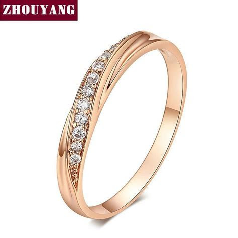 Top Quality Simple Cubic Zirconia Lovers Rose Gold Color