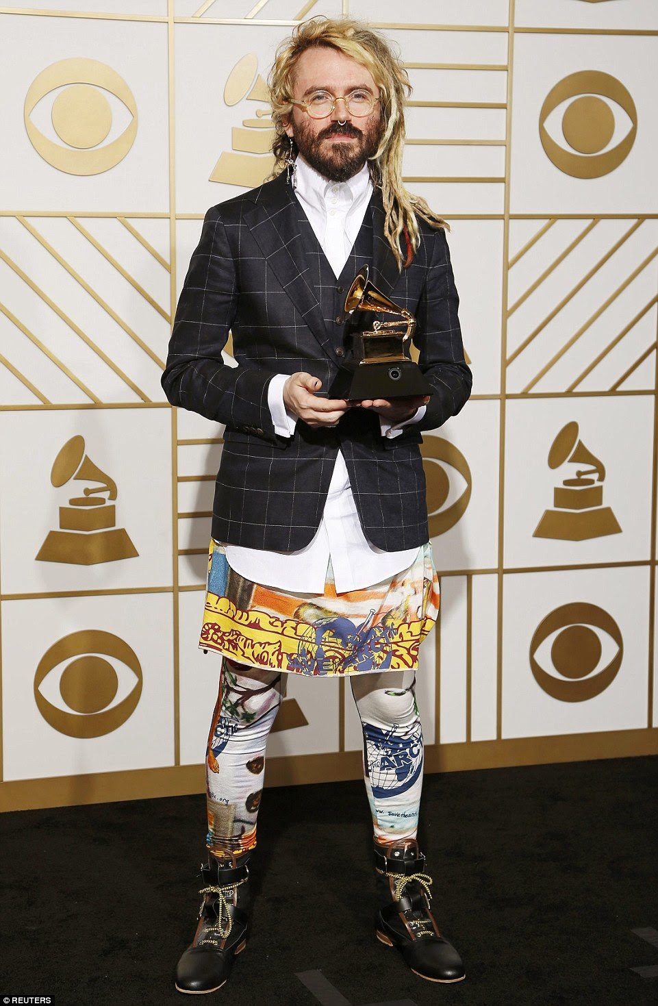Top to bottom disaster:Producer Shawn Everett, the winner of the Best Engineered Album, Non-Classical for Sound & Color, sported one of the most perplexing looks of the night in order to promote Save the Arctic