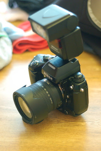 Derek's Nikon F4s - 18-135mm DX zoom + SB-600 flash oblique view