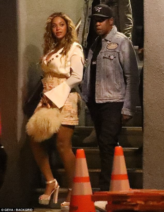 Date night! Beyonce looked sensational as she stepped out with husband Jay-Z in LA on Thursday after introducing her baby twins - who are one-month-old - to the world
