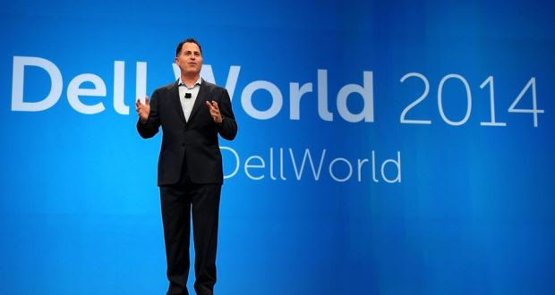 Michael Dell gives the keynote address to kick off Dell World 2014 at the Austin Convention Center in Texas. photograph: gary miller/getty