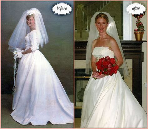 Bride Amy wore her mother's wedding gown shown on the left