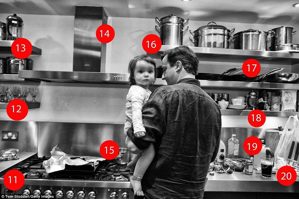 Prime Minister David Cameron photographed at 7.45pm with his baby daughter Florence in the kitchen of the flat above 11 Downing Street where he lives with his family. Mr Cameron is pictured preparing dinner for his wife Samantha