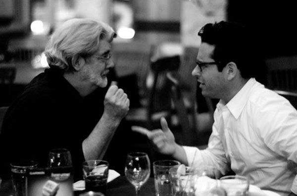 STAR WARS creator George Lucas confers with STAR WARS: EPISODE VII director J.J. Abrams.