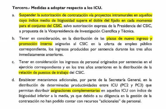 Penalizacións para os 11 centros do CSIC.