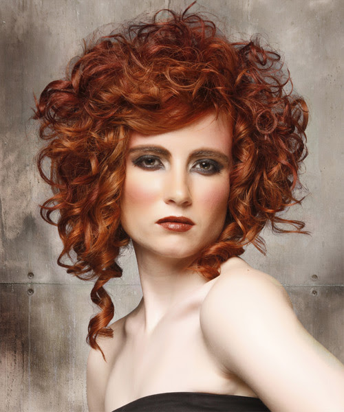 Medium Curly Formal Hairstyle - Ginger Red Hair Color